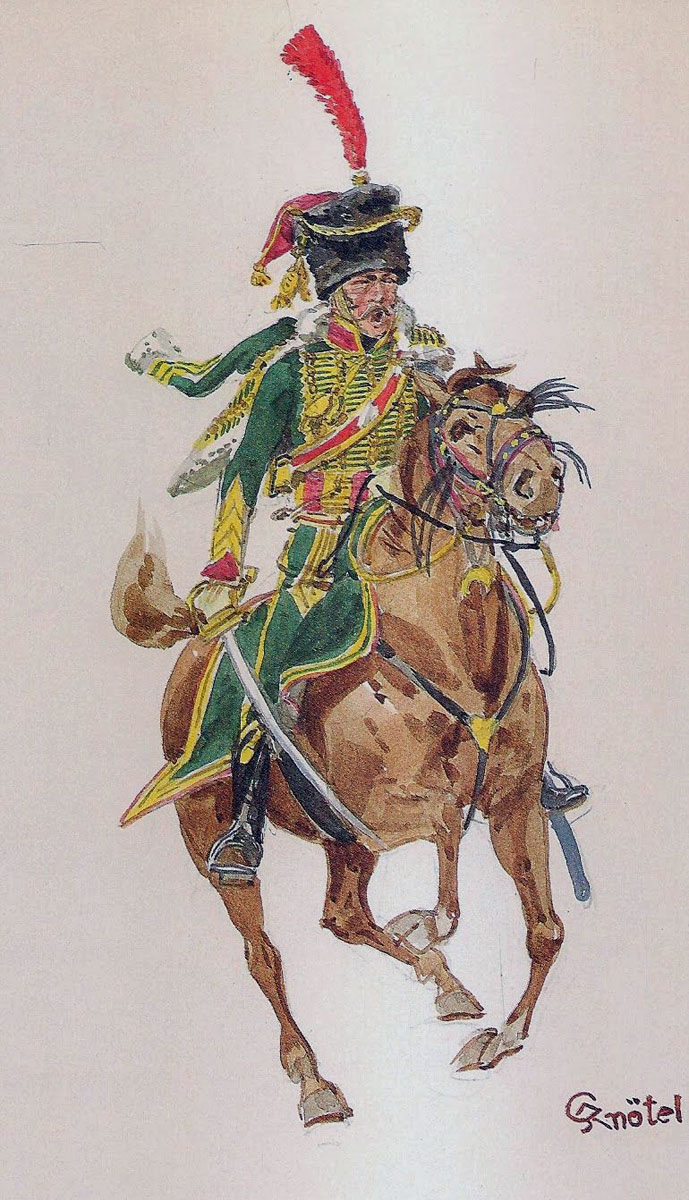 Officer of D'Arenberg's 27th Chasseurs à Cheval: Battle of Arroyo Molinos on 28th October 1811 in the Peninsular War: picture by Knötel