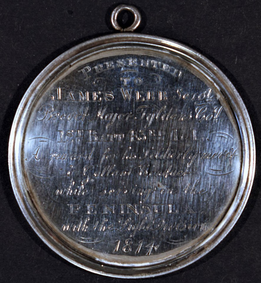 Regimental Medal awarded to Sergeant James Webb of the 43rd Light Infantry for service in the Peninsular War