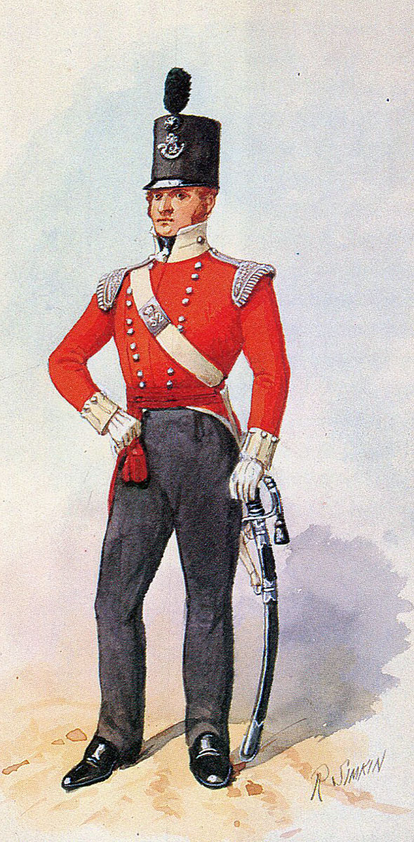 Officer British 52nd Light Infantry: Battle of Fuentes de Oñoro 3rd to 5th May 1811 in the Peninsular War: picture by Richard Simkin
