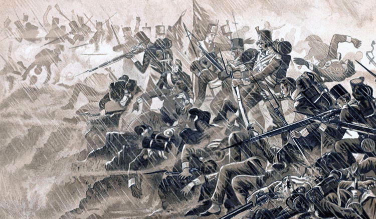 57th Regiment in the rainstorm at the Battle of Albuera on 16th May 1811 in the Peninsular War