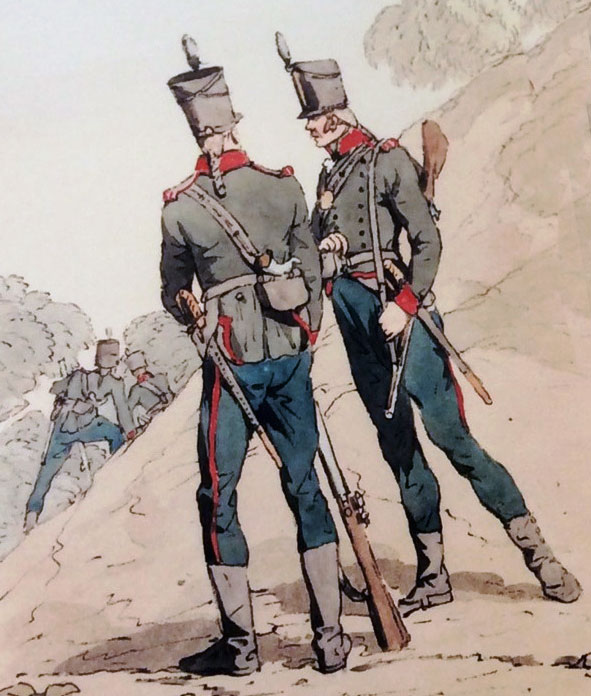 British 5th/60th Rifles: Battle of Talavera on 28th July 1809 in the Peninsular War: picture by Atkinson