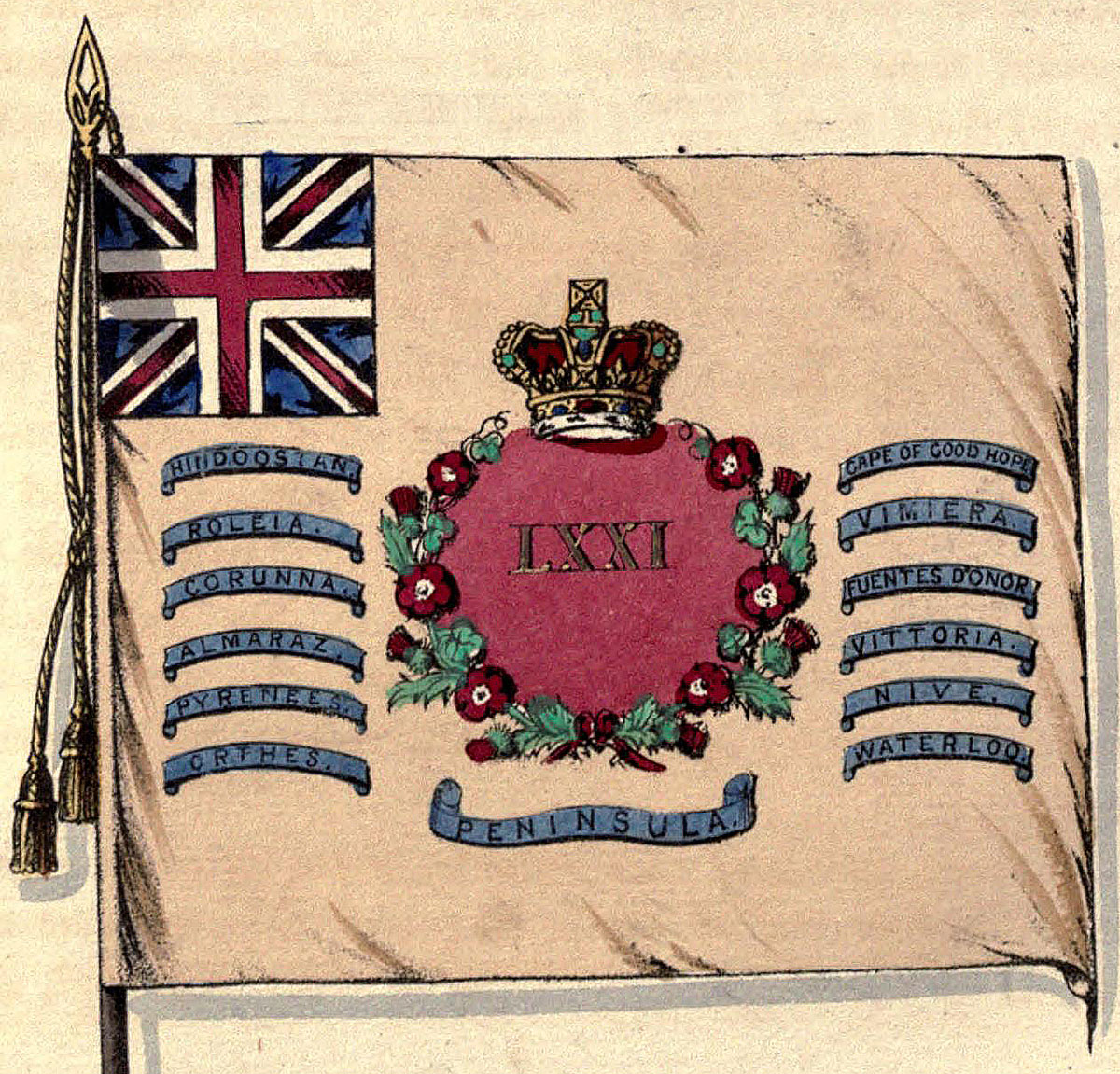 Regimental Colour of the 71st Highland Light Infantry showing the Battle Honour of the Battle of Fuentes de Oñoro 3rd to 5th May 1811 in the Peninsular War