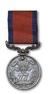 Medal issued by the British 77th Regiment to commemorate the Battle of El Bodon on 25th September 1811 in the Peninsular War