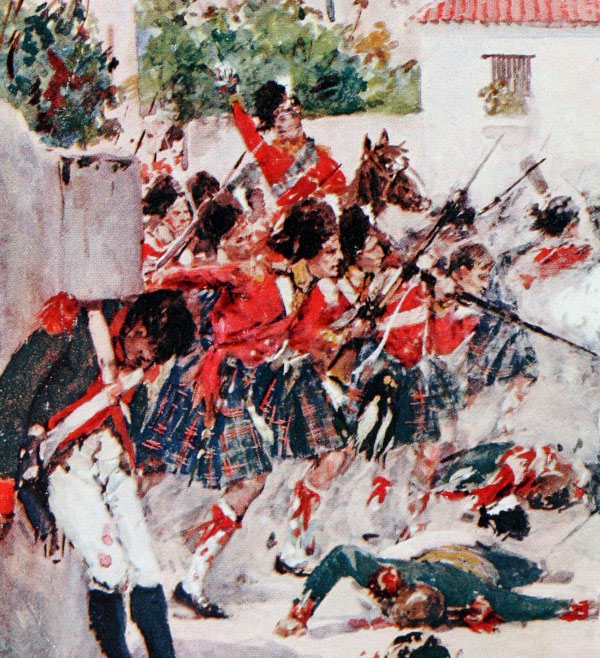 79th Cameron Highlanders attacking the village of Fuentes de Oñoro during the Battle of Fuentes de Oñoro on 3rd May 1811 in the Peninsular War