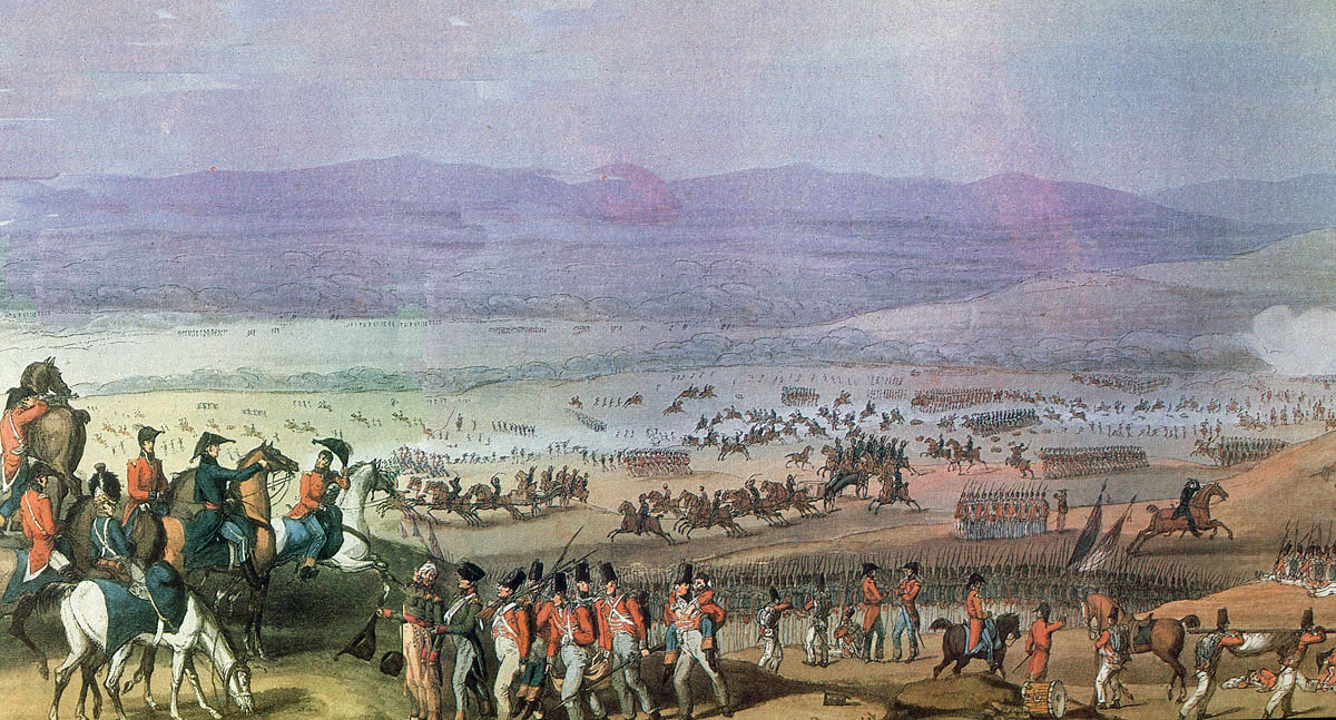 Escape of Captain Norman Ramsay with the 2 guns of Bull's Troop at the Battle of Fuentes de Oñoro on 5th May 1811 in the Peninsular War: picture by W. Heath