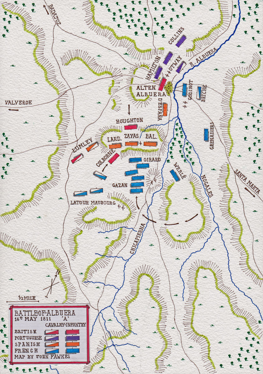 Map of the Battle of Albuera at the time of the French Attack on 16th May 1811 in the Peninsular War: map by John Fawkes