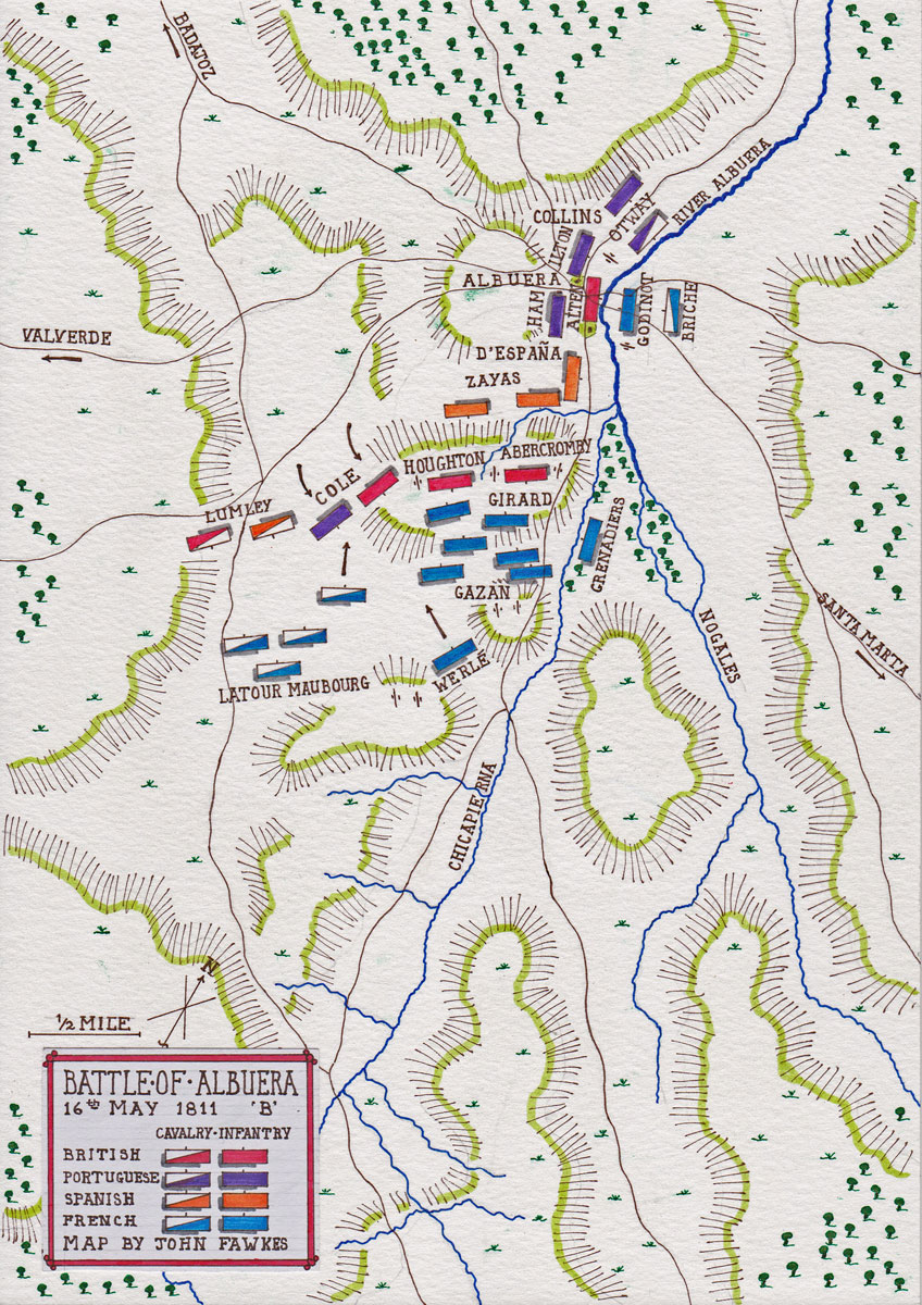 Map of the Battle of Albuera at the time of the British Counter-Attack on 16th May 1811 in the Peninsular War: map by John Fawkes