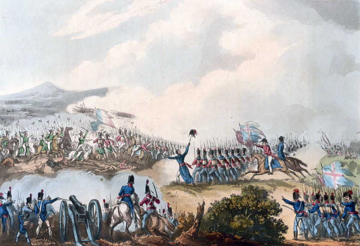 Battle of Albuera on 16th May 1811 in the Peninsular War: picture by J.J. Jenkins