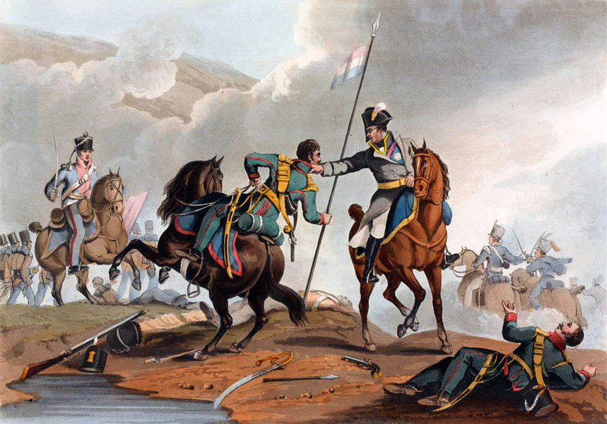 Beresford throwing the Polish Lancer to the ground at the Battle of Albuera on 16th May 1811 in the Peninsular War