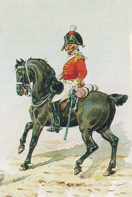 Officer British 3rd Dragoon Guards: Battle of Albuera on 16th May 1811 in the Peninsular War: picture by Richard Simkin
