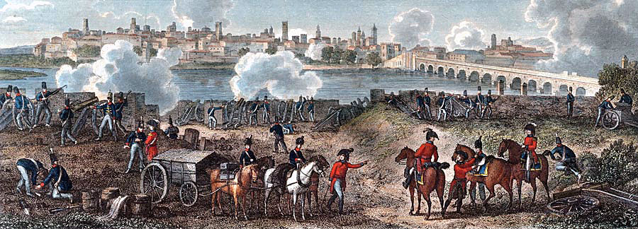 British siege of Badajoz before the Battle of Albuera on 16th May 1811 in the Peninsular War