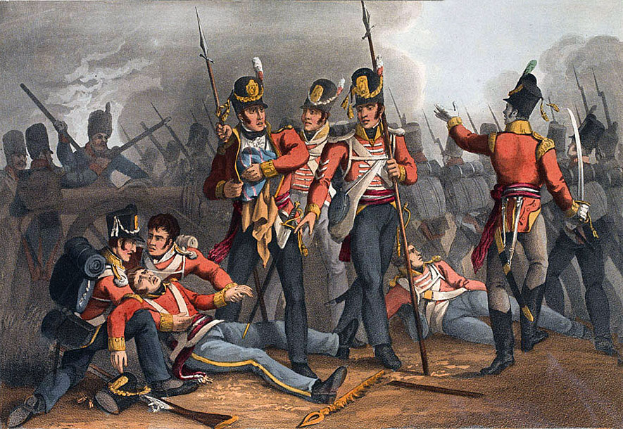 3rd Buffs conceal the Regimental Colour at the Battle of Albuera on 16th May 1811 in the Peninsular War