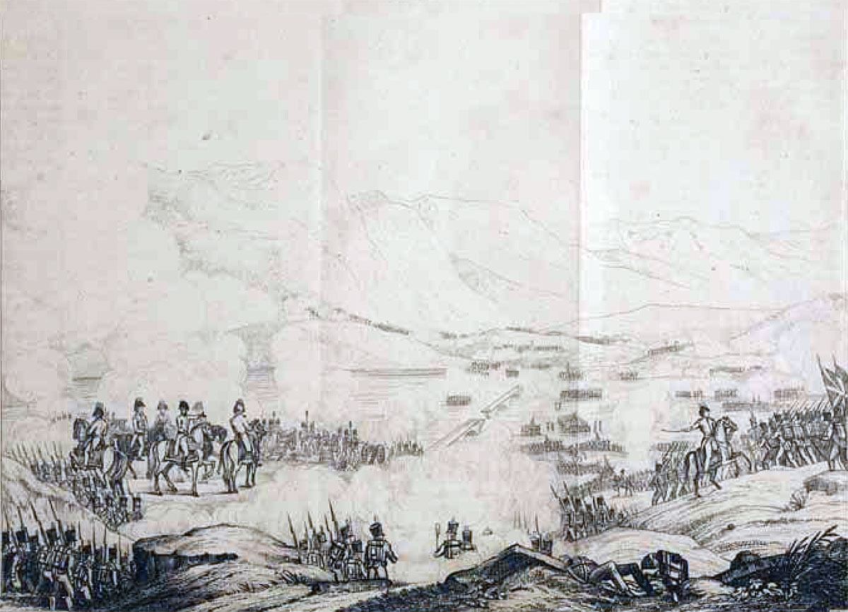 British Army crossing the Bidassoa at the Battle of the Bidassoa on 7th October 1813 during the Peninsular War: drawing by eye-witness William Graham