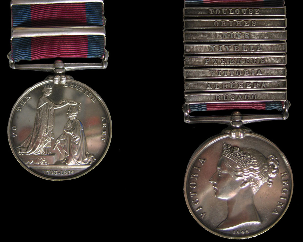Military General Service Medal with clasp for Battle of Albuera on 16th May 1811 in the Peninsular War awarded to Captain Crummer of the 28th Regiment