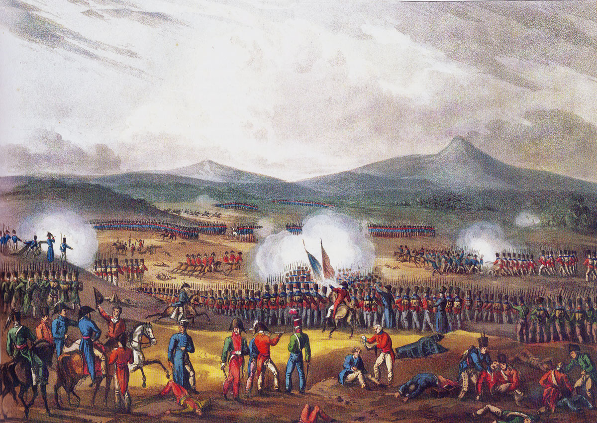 British Light Division withdrawing across the plain at the Battle of Fuentes de Oñoro on 5th May 1811 in the Peninsular War: picture by J.J. Jenkins