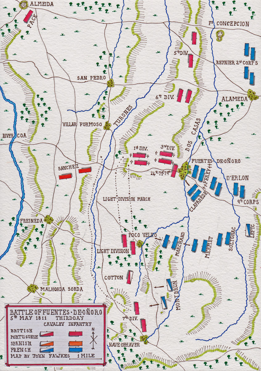Map of the Battle of Fuentes de Oñoro on 5th May 1811 (third day) in the Peninsular War: map by John Fawkes