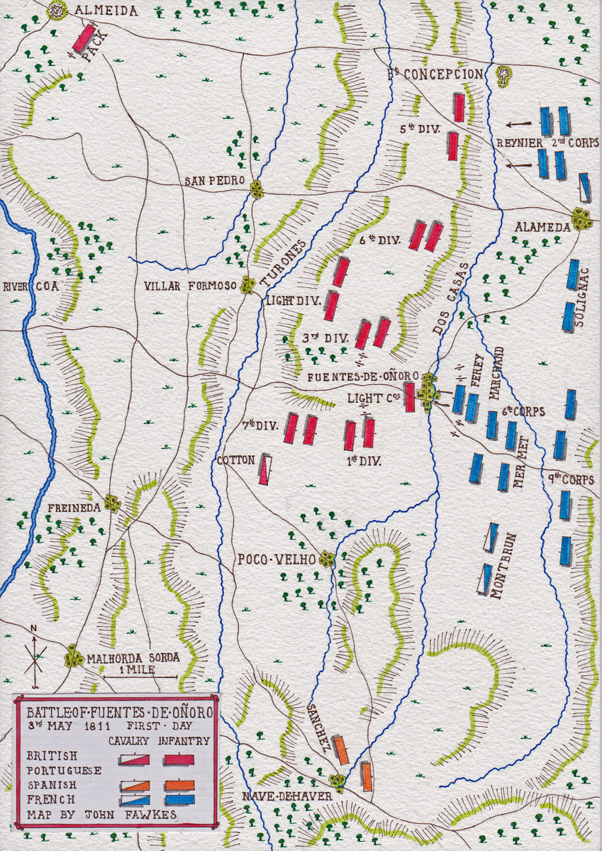 Map of the Battle of Fuentes de Oñoro on 3rd May 1811 (First Day) in the Peninsular War: map by John Fawkes