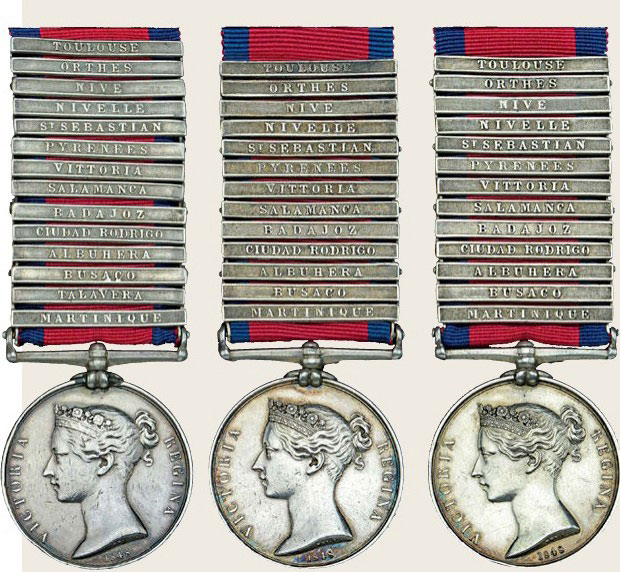Military General Service Medals awarded to the Three Hardy Brothers of the 7th Royal Fusiliers for service in the Peninsular War and Martinique