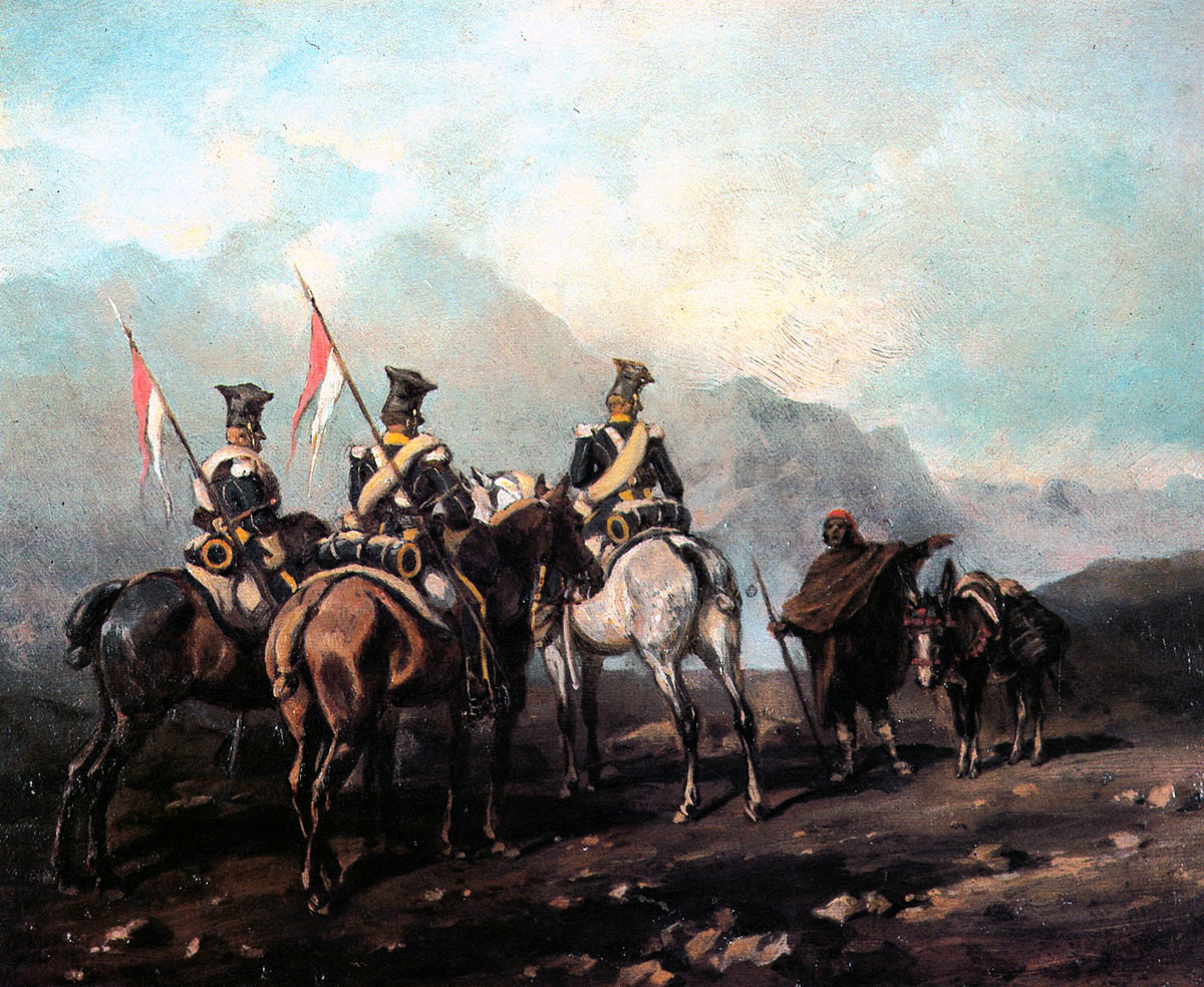 Patrol of Polish Lancers in Spain: Battle of Albuera on 16th May 1811 in the Peninsular War