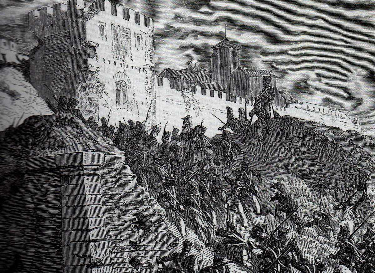 French illustration of the Assault on the Breach at the Storming of Ciudad Rodrigo on 19th January 1812 in the Peninsular War