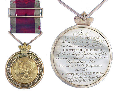 Medal awarded to Lieutenant Latham of the 3rd Buffs by his fellow officers for preserving the Regimental Colour at  the Battle of Albuera on 16th May 1811 in the Peninsular War