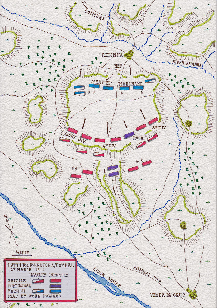 Map of the Battle of Redinha or Pombal fought on 12th March 1811 in the Peninsular War: map by John Fawkes
