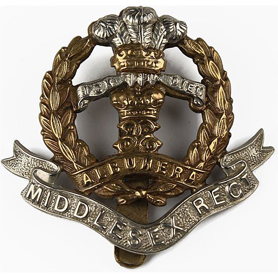 Middlesex Regiment cap badge with distinction for the Battle of Albuera on 16th May 1811 in the Peninsular War