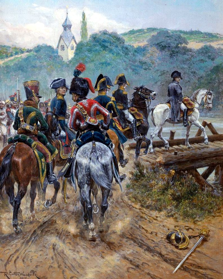 Emperor Napoleon in Spain: Battle of Benavente on 29th December 1808 in the Peninsular War: picture by Richard Caton Woodville