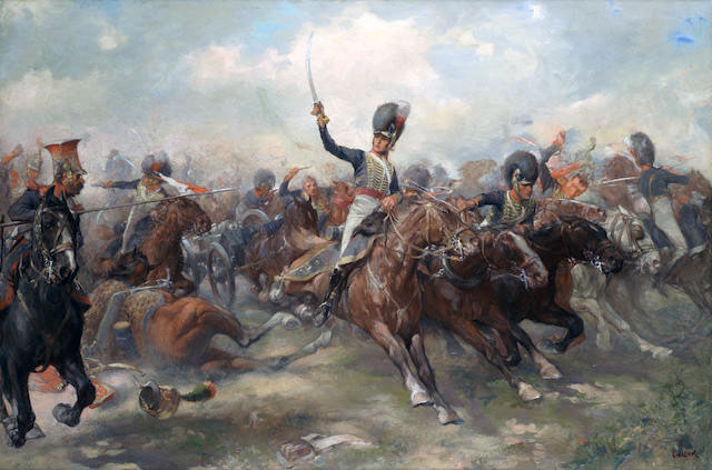 Escape of Captain Norman Ramsay with the 2 guns of Bull's Troop at the Battle of Fuentes de Oñoro on 5th May 1811 in the Peninsular War: picture by Christopher Clark
