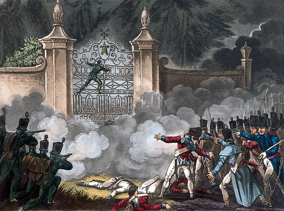Attacking the Bishop's Palace during the Storming of Badajoz on 6th April 1812 in the Peninsular War