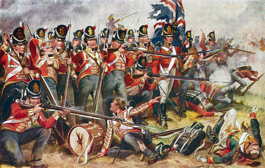 British 31st Regiment at the Battle of Albuera on 16th May 1811 in the Peninsular War: picture by Harry Payne