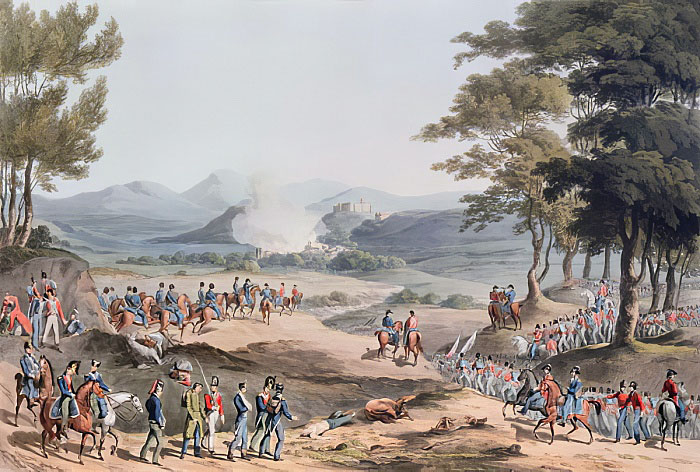 Village of Pombal: Battle of Redinha or Pombal fought on 12th March 1811 in the Peninsular War: picture by Thomas Staunton St Clair