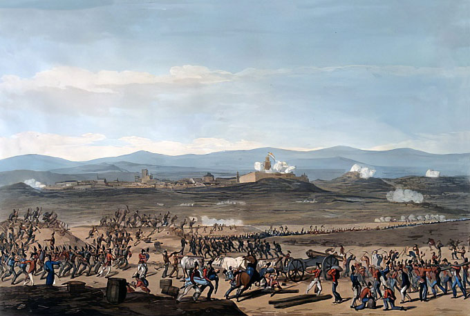 Badajoz during the unsuccessful British siege in June 1811 in the Peninsular War: picture by Thomas Staunton St Clair