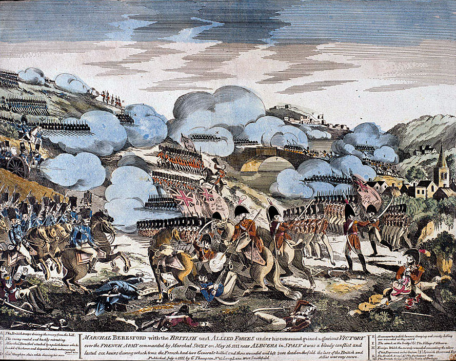 Contemporary Woodcut of the Battle of Albuera on 16th May 1811 in the Peninsular War