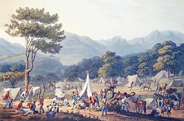 British troops bivouacking: Battle of Fuentes de Oñoro 3rd to 5th May 1811 in the Peninsular War: picture by C. Turner