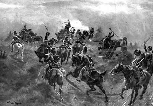 British 13th Light Dragoons attacking the French Cavalry at the Battle of Arroyo Molinos on 28th October 1811 in the Peninsular War