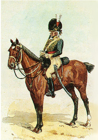 British 13th Light Dragoons: Battle of Almaraz on 19th May 1812 in the Peninsular War: picture by Richard Simkin