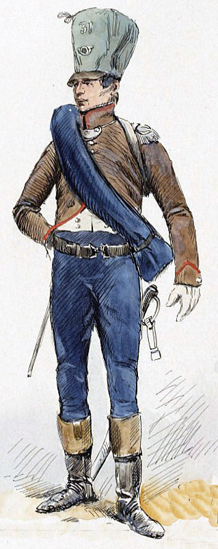Officer of French 31st Light Regiment: Battle of Salamanca on 22nd July 1812 during the Peninsular War, also known as the Battle of Los Arapiles or Les Arapiles