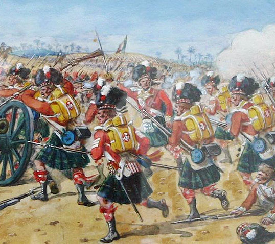 92nd Highland Regiment: Battle of Almaraz on 19th May 1812 in the Peninsular War: picture by Richard Simkin