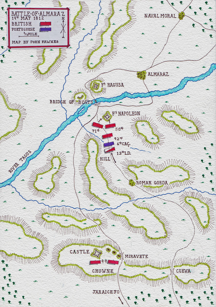 Map of the Battle of Almaraz on 19th May 1812 in the Peninsular War: map by John Fawkes