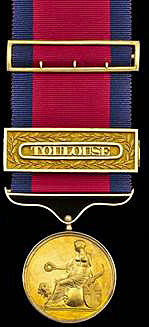 Army Gold Medal with clasp for the Battle of Toulouse on 10th April 1814 in the Peninsular War