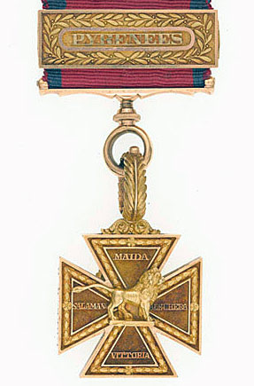 Army Gold Medal Cross for the Battle of the Pyrenees fought between 25th July and 2nd August 1813 in the western Pyrenees Mountains, during the Peninsular War