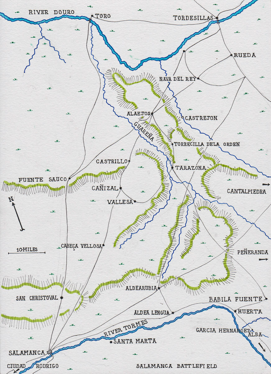Map of the area of Spain between Salamanca on the River Tormes and Tordesillas on the River Douro: Battle of Salamanca on 22nd July 1812 during the Peninsular War, also known as the Battle of Los Arapiles or Les Arapiles: map by John Fawkes