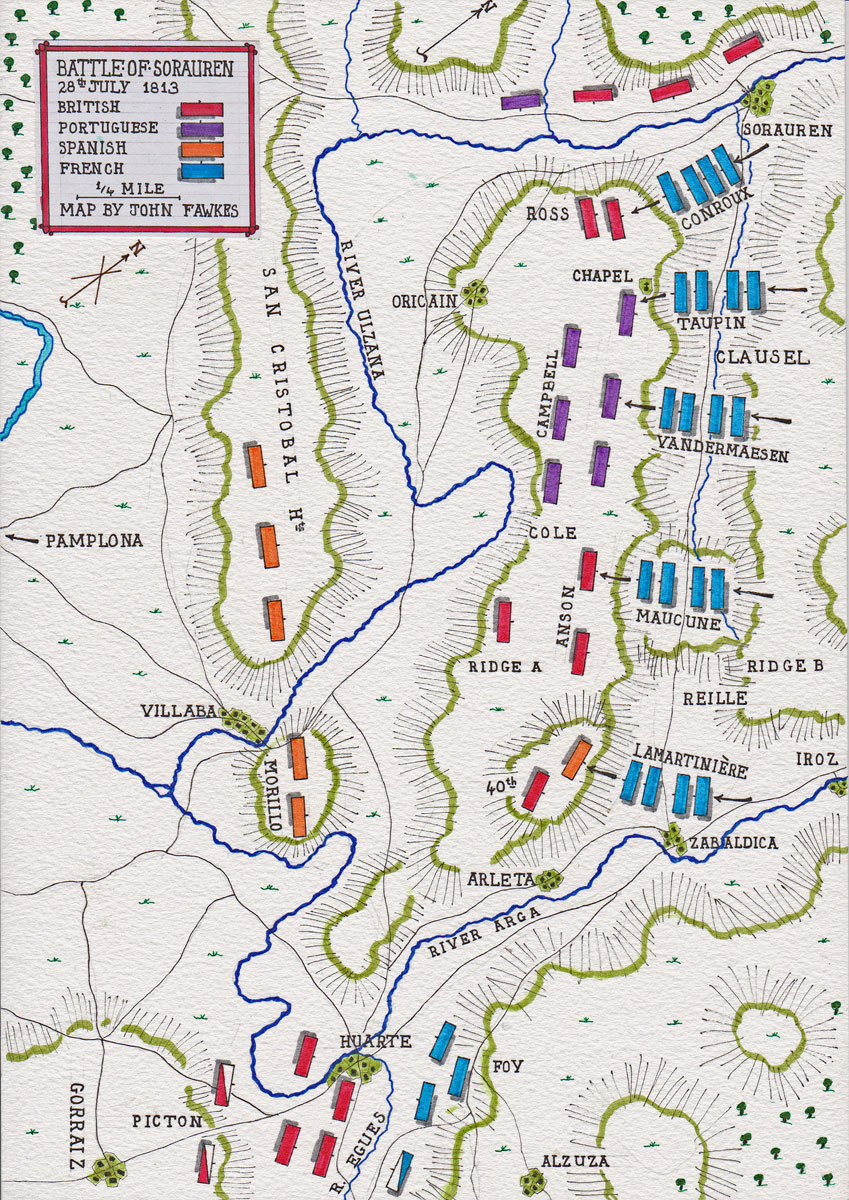 Battle of Sorauren on 28th July 1813: Battle of the Pyrenees fought between 25th July and 2nd August 1813 in the western Pyrenees Mountains, during the Peninsular War: map by John Fawkes