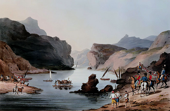 River Tagus: Battle of Almaraz on 19th May 1812 in the Peninsular War: picture by Thomas Staunton St Clair