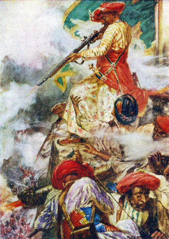Tipu Sultan on the ramparts during the Storming of Seringapatam on 4th May 1799 in the Fourth Mysore War
