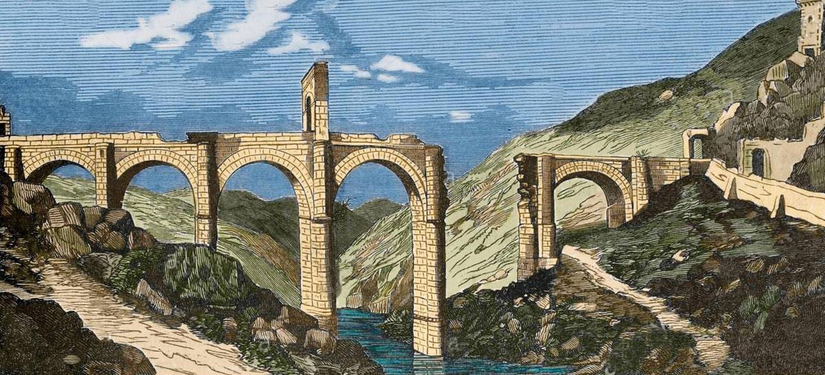 Roman Bridge at Alcantara damaged in 1809: Battle of Almaraz on 19th May 1812 in the Peninsular War