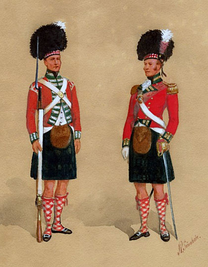 79th Cameron Highlanders: Battle of Busaco on 27th September 1810 in the Peninsular War: picture by Richard Simkin