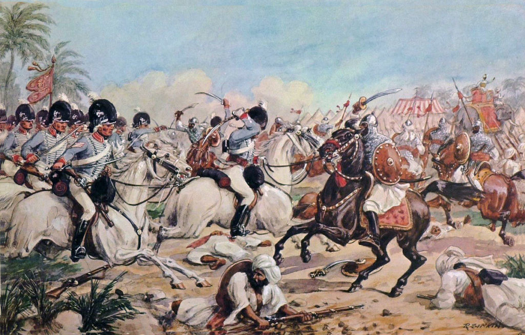 HM 8th Light Dragoons at the Battle of Laswaree on 1st November 1803 in the Third Mahratta War: picture by Richard Simkin