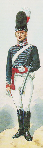 Officer of HM 8th Light Dragoons: Battle of Laswaree on 1st November 1803 in the Second Mahratta War: picture by Richard Simkin